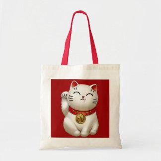 Gato afortunado bolsa lienzo
