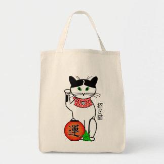 Gato afortunado con el bolso de la linterna bolsa