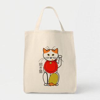 Gato afortunado con el bolso de la moneda bolsas de mano
