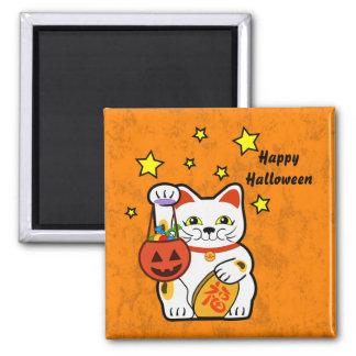 Gato afortunado de Halloween Imán Cuadrado