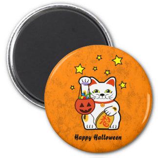 Gato afortunado de Halloween Imán Redondo 5 Cm