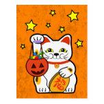Gato afortunado de Halloween Postal