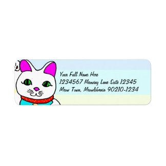 Gato afortunado de Kawaii Etiqueta De Remitente