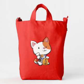 Gato afortunado de Maneki Neko Bolsa De Lona Duck