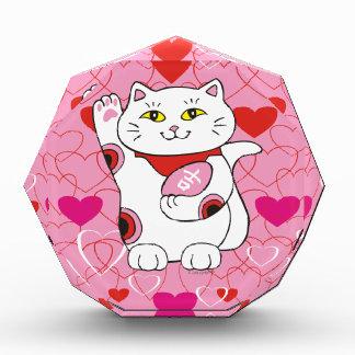 Gato afortunado de Maneki Neko de la tarjeta del