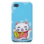 Gato afortunado de Maneki Neko iPhone 4 Protectores