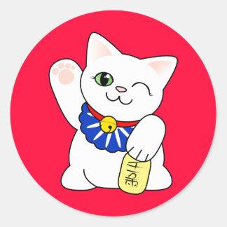 Gato afortunado de Maneki Neko Pegatina Redonda