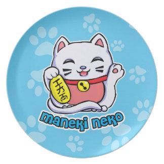 Gato afortunado de Maneki Neko Platos De Comidas