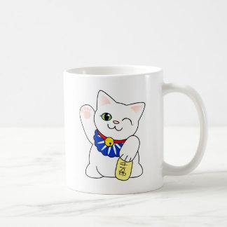 Gato afortunado de Maneki Neko Taza Básica Blanca