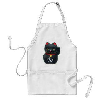 "Gato afortunado del gato de Maneki Neko ""tentando"" Delantales"