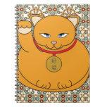 Gato afortunado del oro libros de apuntes con espiral