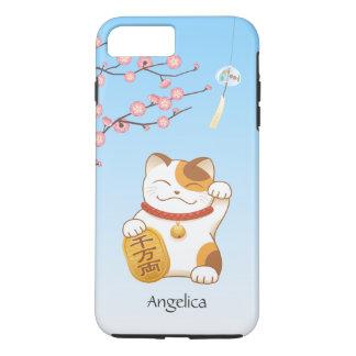 Gato afortunado japonés, calicó Maneki Neko Funda iPhone 7 Plus