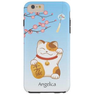 Gato afortunado japonés, calicó Maneki Neko Funda Resistente iPhone 6 Plus