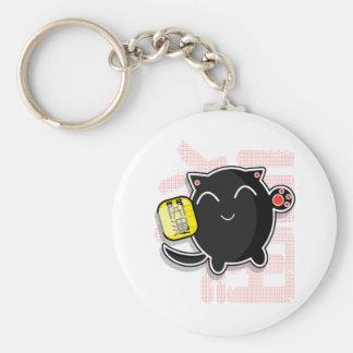 gato afortunado japonés lindo - negro llavero redondo tipo pin