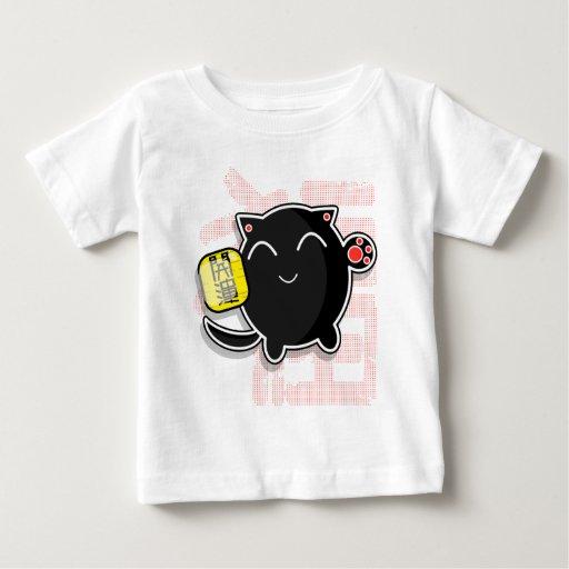 gato afortunado japonés lindo - negro playeras