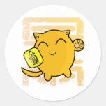 gato afortunado japonés lindo - oro pegatina redonda