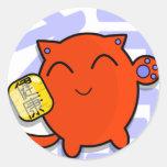gato afortunado japonés lindo - rojo pegatina redonda