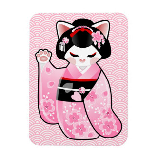 Gato afortunado japonés Maiko de Kokeshi Maneki Rectangle Magnet
