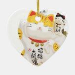 Gato afortunado japonés ornamento de reyes magos