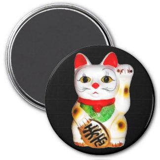 Gato afortunado Maneki Neko Imán Redondo 7 Cm