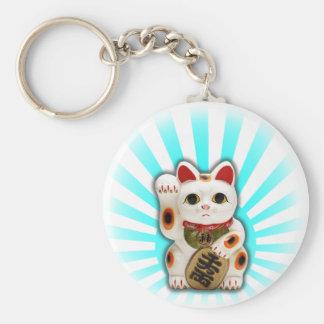 Gato afortunado (Maneki-neko) Llavero Redondo Tipo Pin