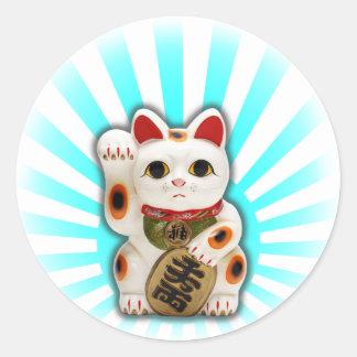Gato afortunado (Maneki-neko) Pegatina Redonda