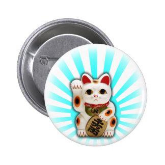 Gato afortunado (Maneki-neko) Pin Redondo De 2 Pulgadas