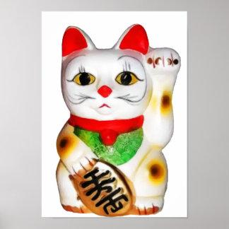 Gato afortunado Maneki Neko Póster