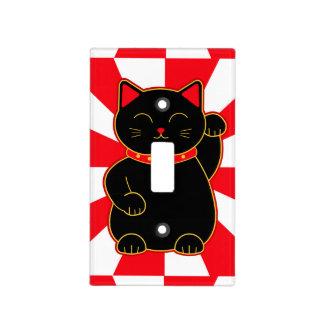 Gato afortunado negro tapa para interruptor