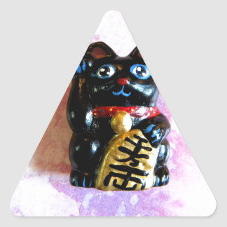 Gato afortunado pegatina triangular