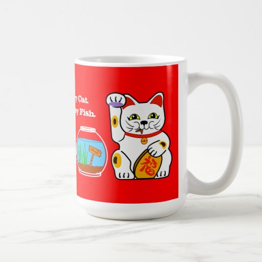 Gato afortunado. Pescados desafortunados Taza De Café