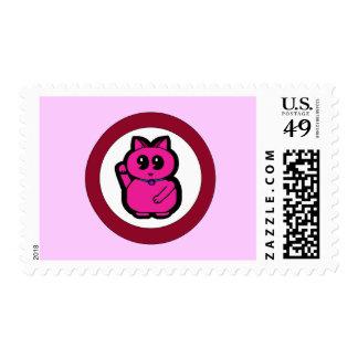 Gato afortunado rosado estampilla