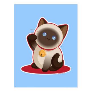 Gato afortunado postal