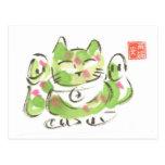 Gato afortunado verde Maneki Neko Tarjeta Postal