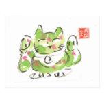 Gato afortunado verde tarjeta postal
