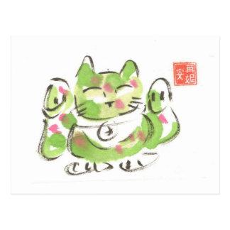 Gato afortunado verde postal