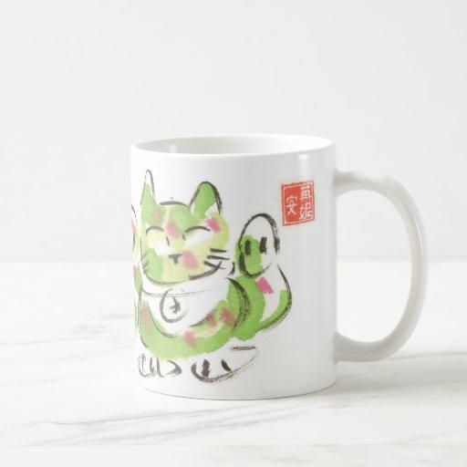 Gato afortunado verde taza de café