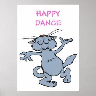 Gato alegre divertido del baile de la danza feliz posters
