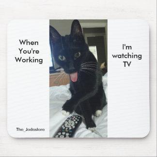 Gato alejado divertido TV de la lengua de Mousepad