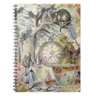Gato Alicia de Cheshire en el país de las Libros De Apuntes Con Espiral