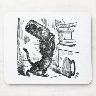Gato alrededor para romper la botella con el ratón alfombrilla de raton