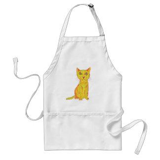 Gato amarillo gruñón y confuso, estilo ingenuo delantal