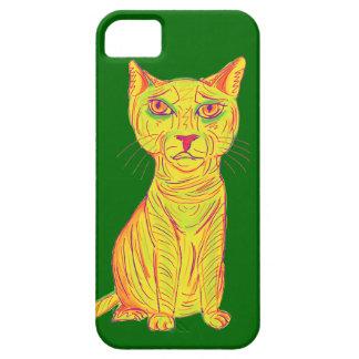 Gato amarillo gruñón y confuso, estilo ingenuo funda para iPhone SE/5/5s