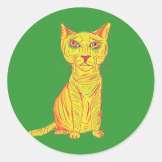 Gato amarillo gruñón y confuso, estilo ingenuo