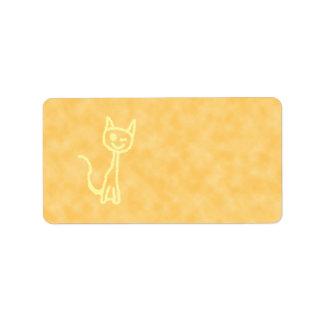 Gato amarillo, guiñando. Fondo amarillo del modelo Etiquetas De Dirección