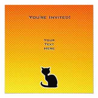 "Gato amarillo-naranja invitación 5.25"" x 5.25"""