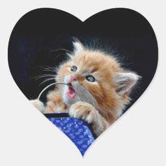 Gato anaranjado azul que juega y que muerde de Cub Pegatina En Forma De Corazón