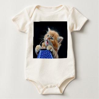 Gato anaranjado azul que juega y que muerde de Cub Trajes De Bebé