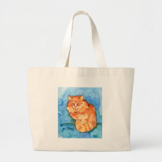Gato anaranjado bolsa tela grande