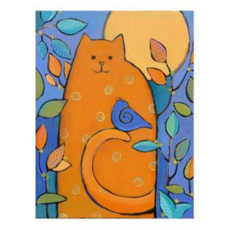 Gato anaranjado con el pájaro de Sue Davis Postal